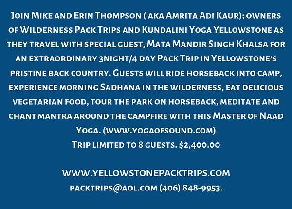 Kundalini & Naad Yoga Horse Pack Trip Ye