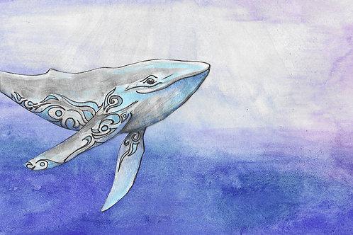Toile imprimée baleine
