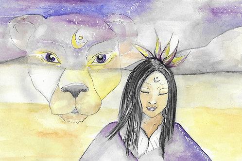 toile imprimée la lionne