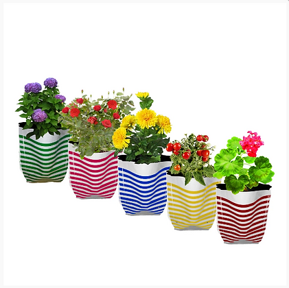 Premium Colorful Stripe Grow Bag - Set of 5