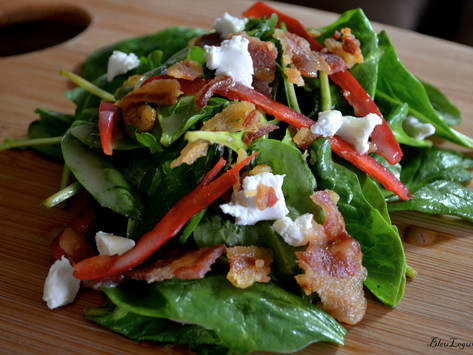 Spinach Salad with Pecans, Goat Cheese, and Bacon Vinaigrette
