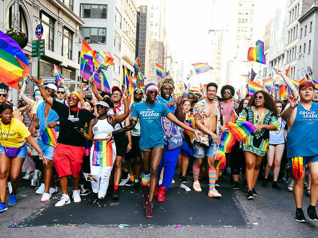 People walking in a 2021 pride parade in New York City