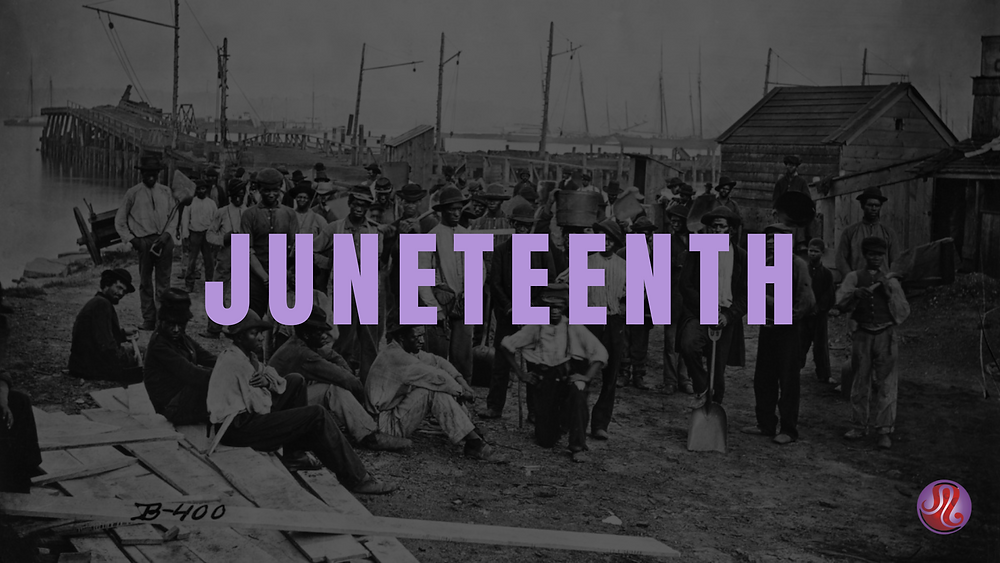 Juneteenth Text Over A Historical Image of Freed Black Slaves