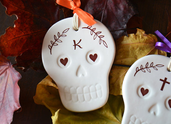 Skeleton Head Ornament - Day of the Dead Sugar Skull - Skeletons