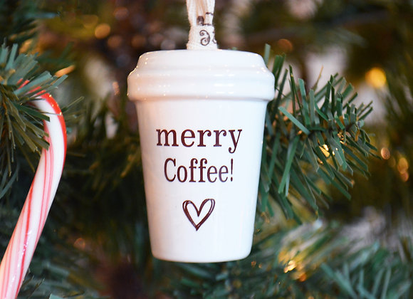 Coffee Tumbler Ornament with Coffee Bean Cord - Merry Coffee