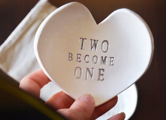 Wedding Ring Heart Bowl - Traditional Wedding Decor - Custom Wedding Gift