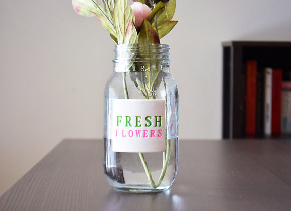 Unique Flower Vase - Glass Mason Jar Vase - Fresh Flowers