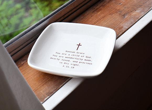 Custom Baptism Gift - Baptism Keepsake Dish with Name and Date