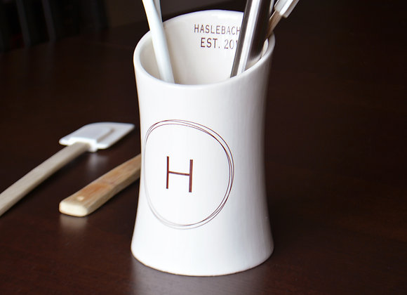 Personalized Utensil Holder - Wedding or Housewarming Gift - Ceramic
