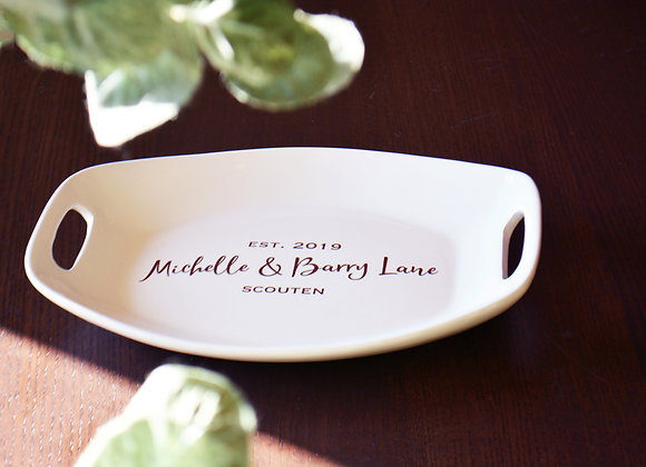Custom Platter with Names and Wedding or Anniversary Date - Gift Wrap Available