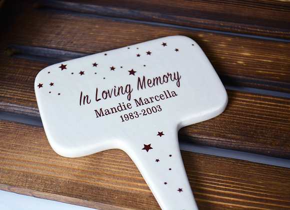 In Loving Memory - Star Grave Marker - Ceramic Stake