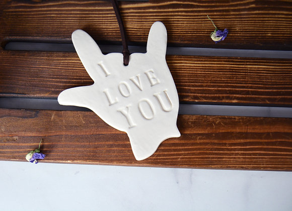 ASL I love You Hand Ornament - Ceramic Ornament