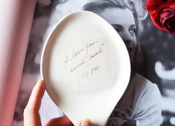 Custom Spoon Rest - Ceramic Spoon Rest with Handwritten Recipe or Custom Message