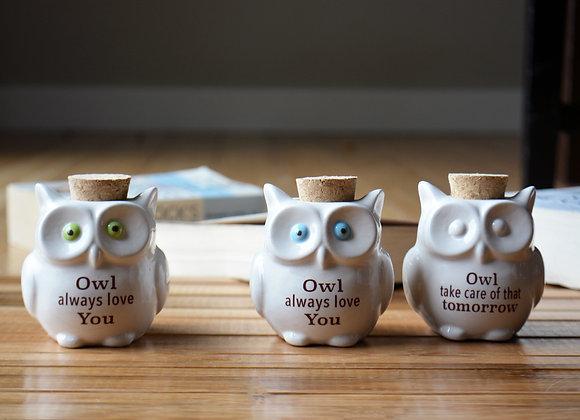 Ceramic Owl Jar with Cork Top - Office Jar Office Gift - Owl Always Love You - G
