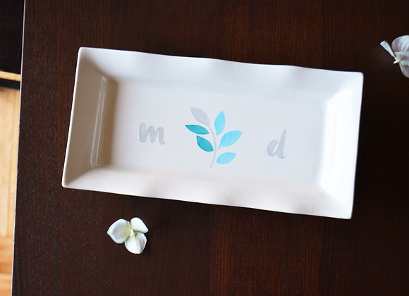 Custom Wedding Platter with Initials - Bride and Groom Gift with Custom Colors