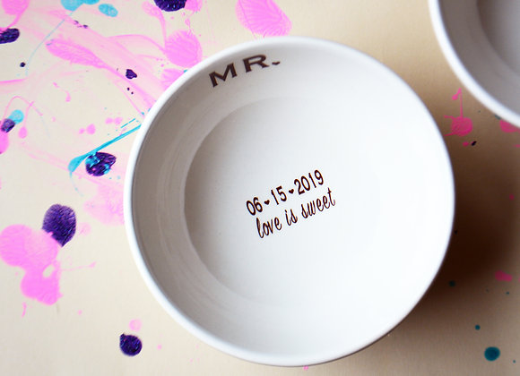 Mr and Mrs Ice Cream Dish Set - Ice Cream Bowls - Wedding Gift - His and Hers