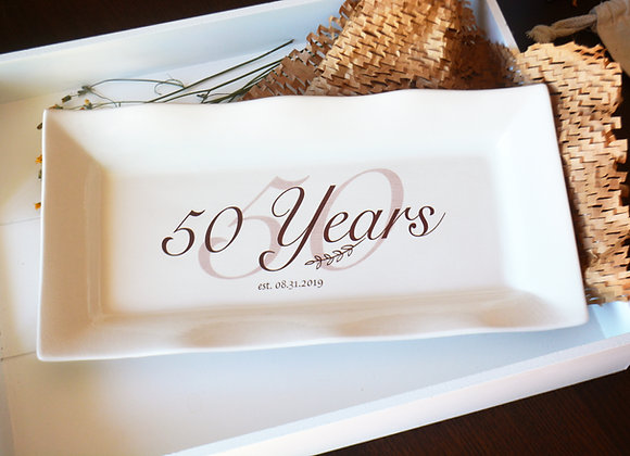 Custom Anniversary Platter - Fifty Years - Silver or Golden Anniversary
