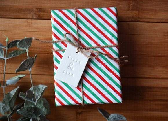 Ceramic Wedding Gift Tag with Custom Names - Decorative Gift Wrap