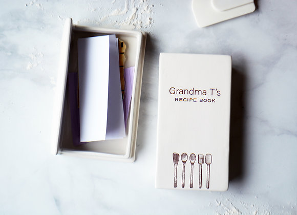 Unique Recipe Book - Book Box - Customized Ceramic Keepsake for Recipes