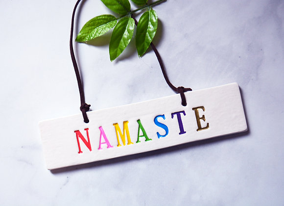 Ceramic Namaste Sign - Yogi Home Decor - Welcome Sign