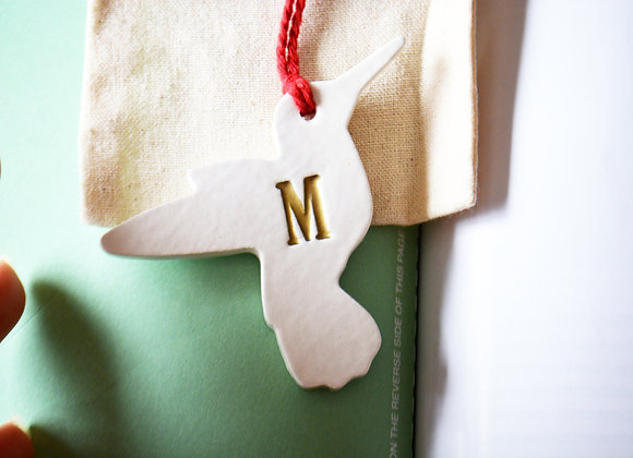 Hummingbird Initial Ornament - Personalized Ornament - Christmas or Wedding Gift