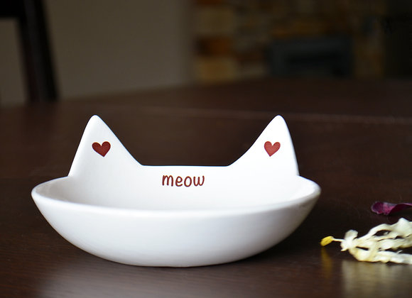 Ceramic Cat Bowl with Cat Ears - Cat Food Dish - Cat Bowl - Pet Gift - Meow