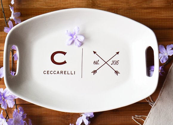Personalized Wedding Gift for the Bride and Groom - Ceramic Established Platter