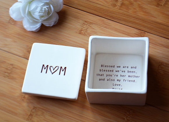 Mother of The Bride Wedding Keepsake Box - Unique Mother In Law Gift