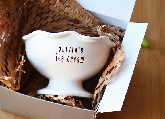 Kids Personalized Ice Cream Dish or Dessert Bowl - Small Sundae Dish