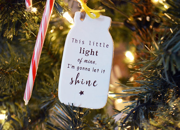 Mason Jar Ornament with Song Lyrics - This Little Light of Mine