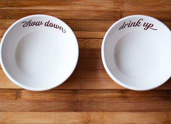 Food and Water Dog or Cat Dish Set - Ceramic Pet Bowls - Chow Down Drink Up