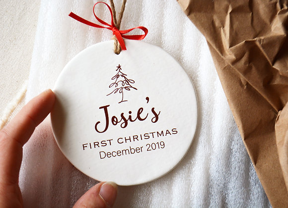 Baby's First Christmas Ornament - Baby's 1st Christmas - Christmas Tree Ornament