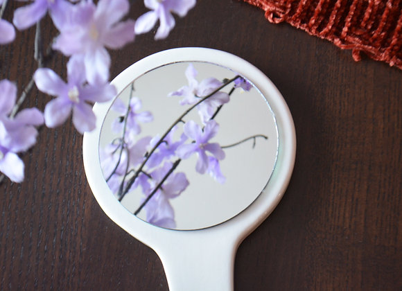 Custom Wedding Gift - Bridesmaid Gift - Ceramic Handheld Mirror with Initials
