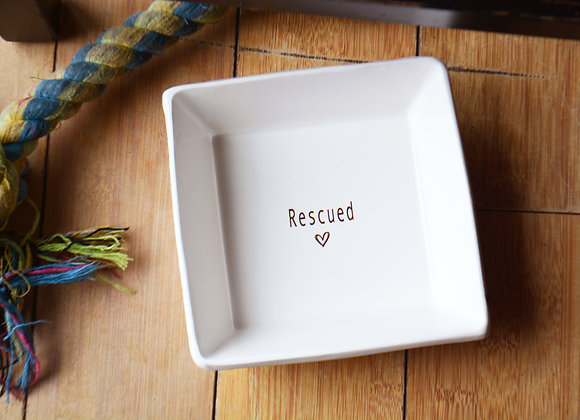 Ceramic Dog Dish or Dog Bowl - Rescue Dog - Rescue Pets