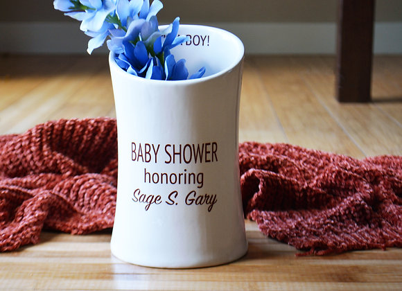 Baby Shower Vase with Custom Text - Baby Shower Decor - Baby Shower Gift