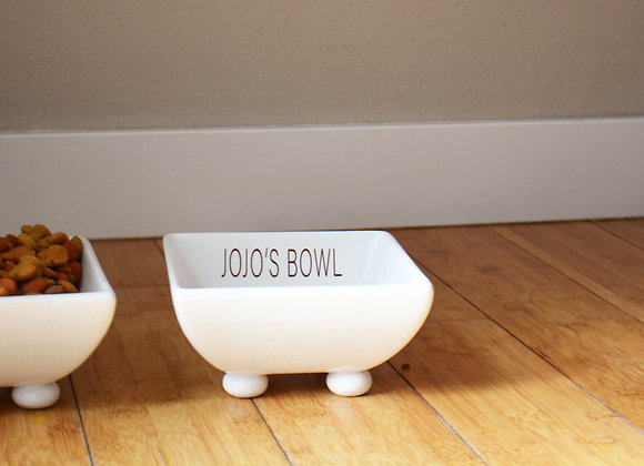 Personalized Dog Bowl with Name - Large Dog Dish - Footed Pet Bowl - Raised Bowl