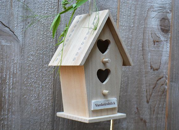Large Hanging Bird House with Custom text - Wooden House - Garden Yard Art