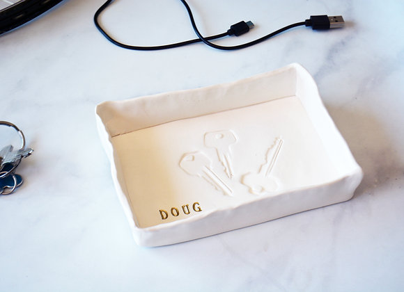 Ceramic Key Dish with Name - Key and Wallet Holder - Mens Catchall Tray