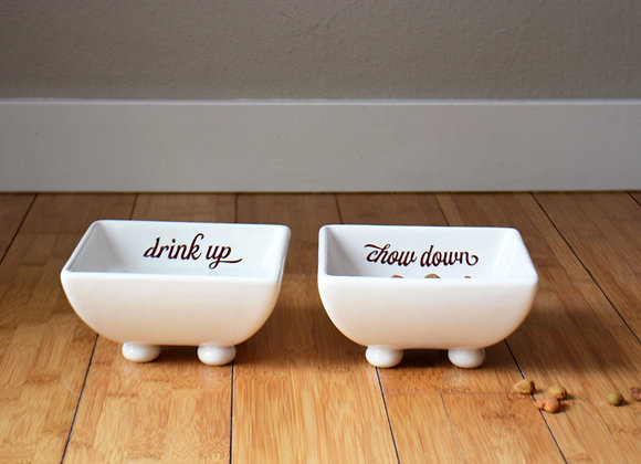 Ceramic Food and Water Bowls - Raised Dog Bowl Set - Chow Down Drink Up