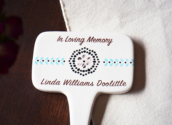 Decorative Memorial Stake Personalized with Name - Ceramic Plant Stake