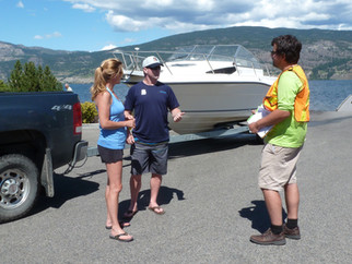 James interacting with boaters