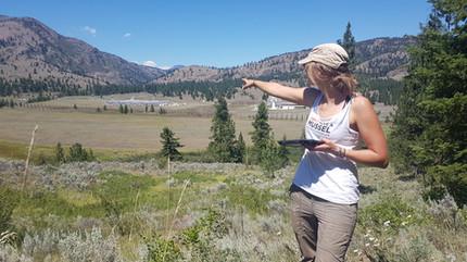 Tess surveying at White lake