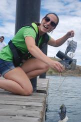 Sam checking invasive mussel monitors at Kekuli Bay