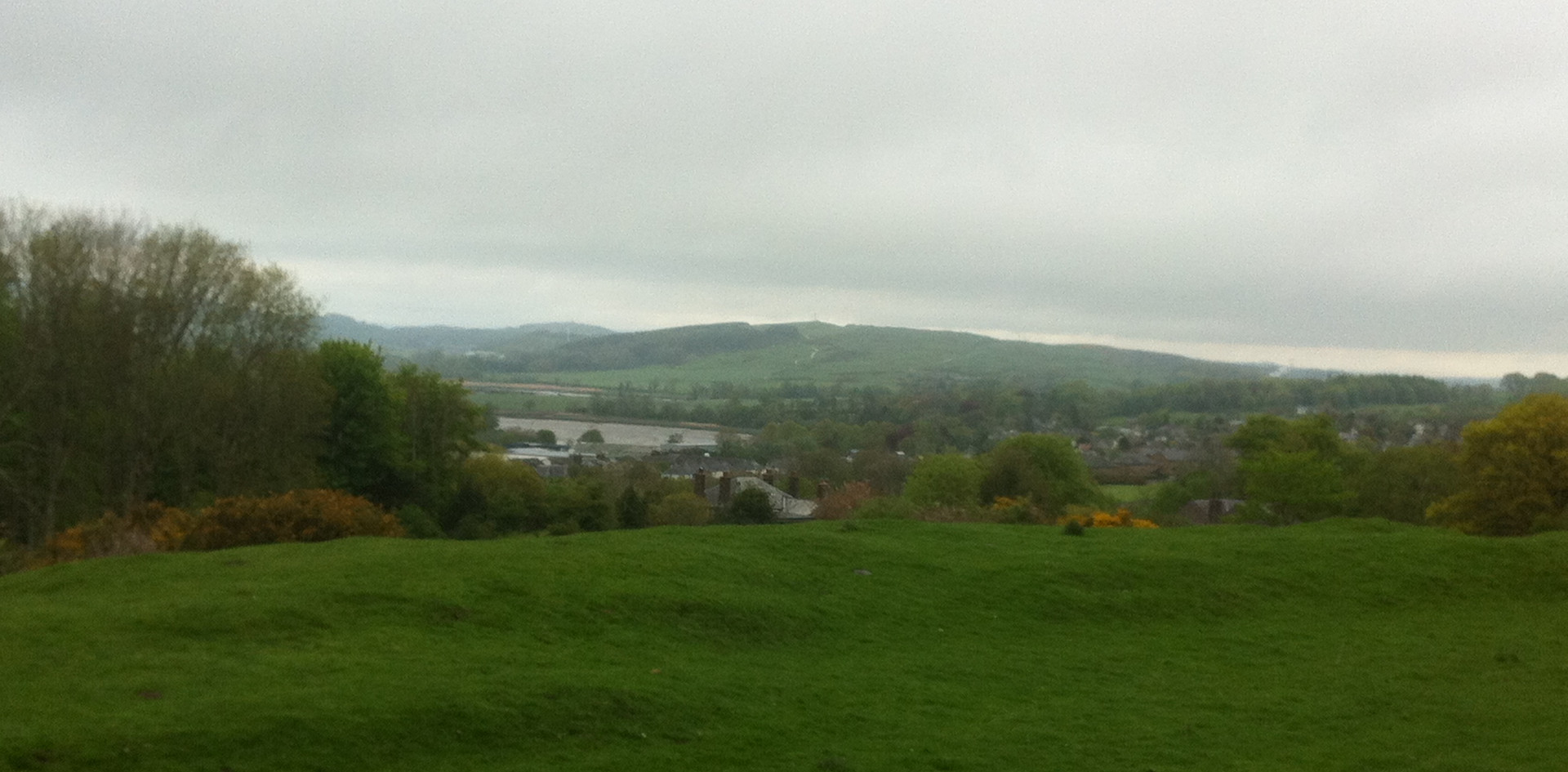 The green hills of Kirkcudbright's surrounding countryside