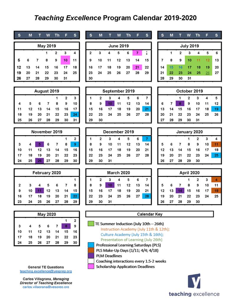 Teaching Excellence Calendar 19-20 Final