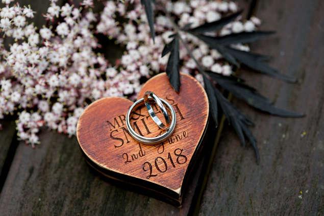 Close up of wedding ring detail