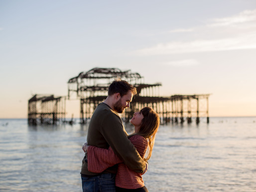 Brighton West Pier Engagement session at sunset! Kirsty + Ben