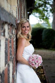 Wedding bridal portrait of happy bride