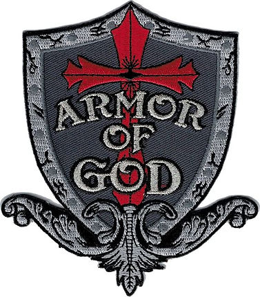 Armor of God Patch Gray sheild red cross