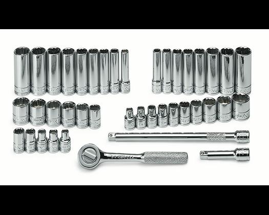 S-K 91844-12 41pc 1/4inDr 12 Pt Std & Dp SAE/Metric Socket Set